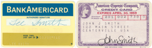 The first credit cards: Bankamericard and American Express Credit Cards
